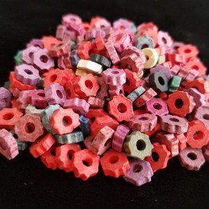 240 Greek Ceramic BEADS Red Pink Green mixed